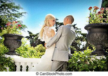 noivo, noiva, ao ar livre, casório