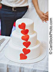 noivo, noiva, corte, recepção, bolo casamento, corações