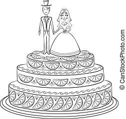 noivo, noiva, feriado, torta, contorno