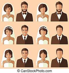 noivo, noiva, vetorial, retrato
