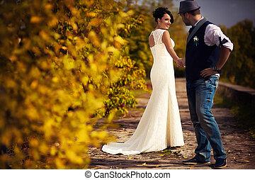 noivo, outono, casório, noiva