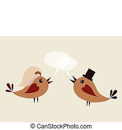 noivo, pássaro, esposa