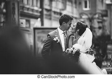 noivo., par, day., noiva, casório, feliz