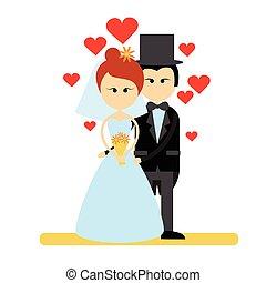 noivo, par, noiva, casamento, desgaste, casório, abraço, vestido, caricatura