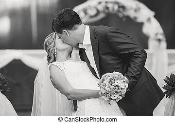 noivo, parque, noiva, pretas, beijando, retrato, branca