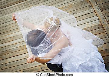 noivo, passeio, noiva, casório