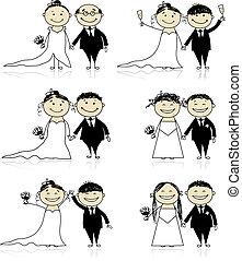 noivo, seu, casório, -, cerimônia, junto, desenho, noiva
