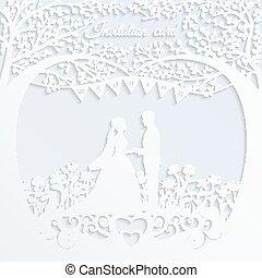 noivo., silueta, casório, noiva, convite, cartão