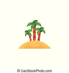 noix coco, île, trois, arbres, exotique, paume