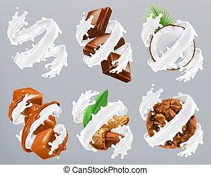 noix coco, amande, caramel, réaliste, vecteur, chocolat, splash., yaourth, biscuits, lait, 3d