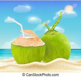 noix coco, boisson, clair, mer sable, plage