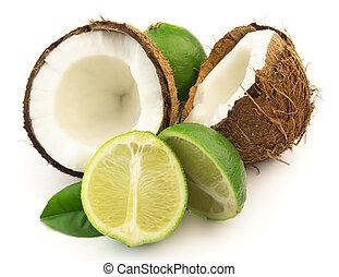 noix coco, chaux