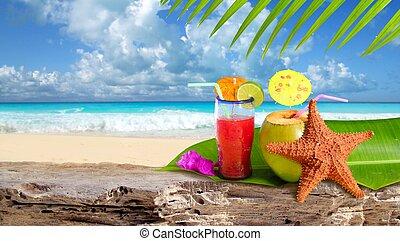 noix coco, cocktail, etoile mer, plage tropicale