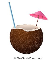 noix coco, cocktail, icône