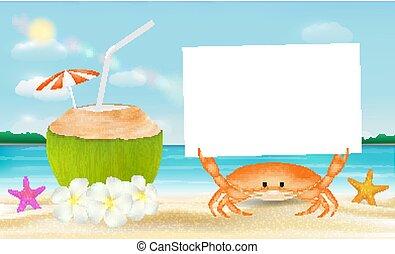 noix coco, crabe, eau mer, papier, fond, plage