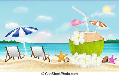 noix coco, eau boisson, mer sable, chaise, plage