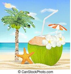 noix coco, eau boisson, mer sable, plage