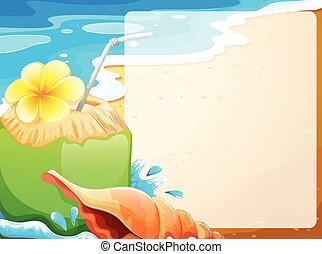 noix coco, frontière, jus, fond, vide, plage