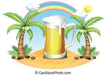 noix coco, géant, grande tasse bière, arbres