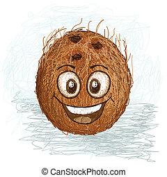 noix coco, heureux