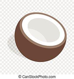 noix coco, moitié, isométrique, icône