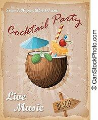noix coco, poster., illustration., cocktail, vendange, cocktail., vecteur, fête