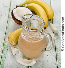 noix coco, smoothies, lait, banane