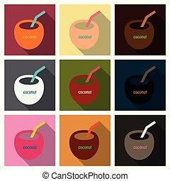 noix coco, surfer, illustration., cocktail, symbole, style, isolé, arrière-plan., vecteur, icône, dessin animé, stockage