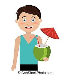 noix coco, touriste, cocktail, homme