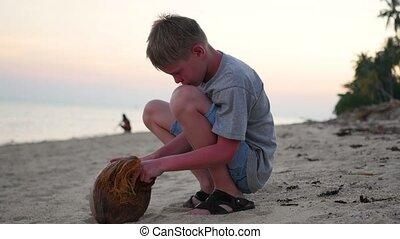 noix coco, type, plage, jeune, jouer
