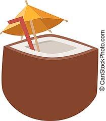 noix coco, vecteur, cocktail, illustration