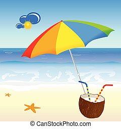 noix coco, vecteur, plage, lait, illustration
