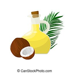 noix coco, verre, huile