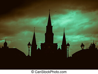 Silhouette of New Orleans Saint Louis Cathedral