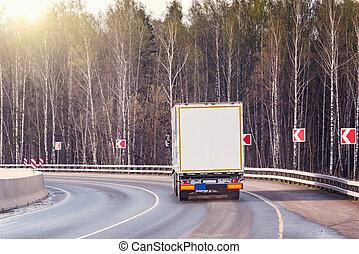 nolo, camion, su, il, road.