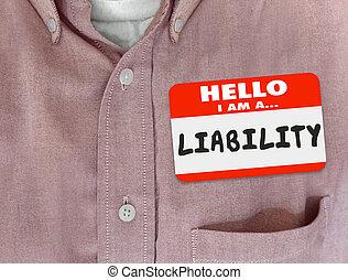 nom, autocollant, responsabilité, étiquette, avertissement, bonjour, chemise rouge