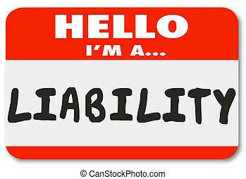 nom, autocollant, responsabilité, étiquette, employé, bonjour, rouges, risque