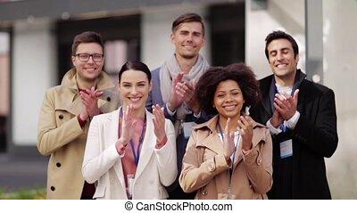 nom, business, étiquettes, applaudir, équipe, international