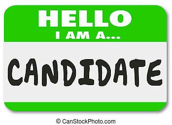 nom, candidat, autocollant, candidat, métier, étiquette, élection, vote