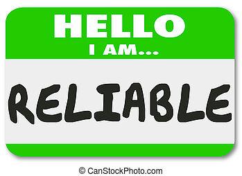 nom, fiable, ouvrier, membre, personne, étiquette, fiable,...