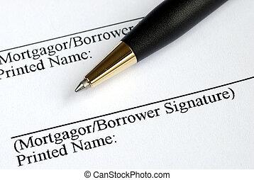 nom, hypothèque, ici, signe, application, ton