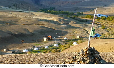 nomadic yurt camp in Altay mountains
