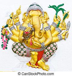nombrado, ganesha, vighna, hindú, ganapati, indio, dios, o