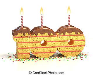 nombre, 100, formé, gâteau