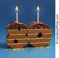 nombre, 80, formé, gâteau anniversaire