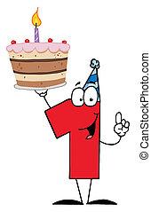 nombre, anniversaire, une, gâteau