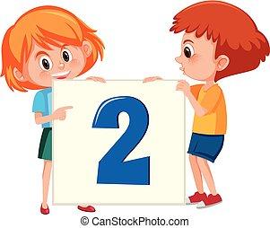 nombre, bannière, deux, tenue, enfants