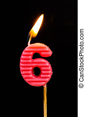 nombre, bougies, projection,  birthday-anniversary,  6