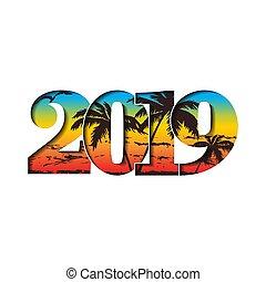 nombre, clair, conception, année, texture, arc-en-ciel, card., gradient, bannière, isolé, arrière-plan., 2019, nouveau, blanc, vacances, noël, heureux, illustration, texte, célébration, graphique, decoration., salutation, vecteur, 3d