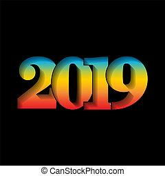 nombre, clair, conception, année, texture, arc-en-ciel, card., gradient, bannière, isolé, arrière-plan., 2019, noir, vacances, noël, heureux, texte, illustration, nouveau, célébration, graphique, decoration., salutation, vecteur, 3d